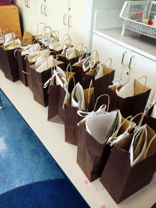 Nicely prepared goodie bags stuffed with useful information for parents to take home.